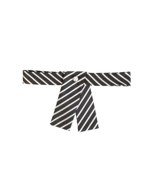 Black & Cream Stripe Neck Tab