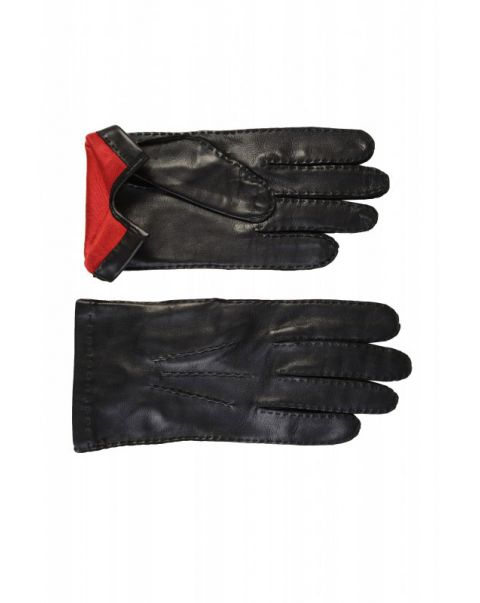 Red Silk Lined Leather Gloves