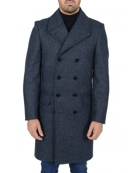 Blue Double Breasted Overcoat - Chest 48