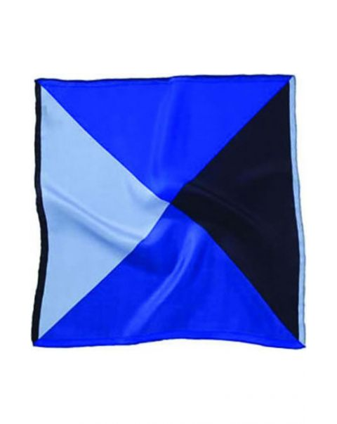 Four Colour Blue Silk Handkerchief