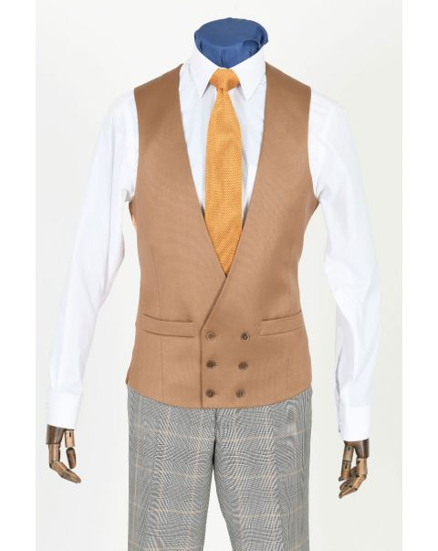 Camel Double Breasted Waistcoat