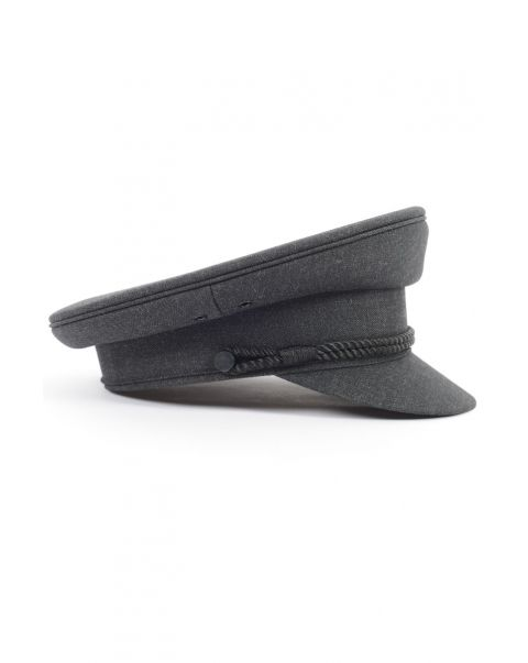 Charcoal Chauffeur's Cap - Twin Cord - Cloth Peak
