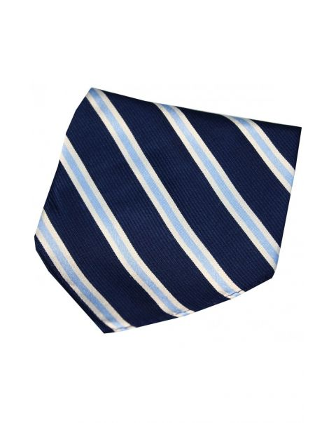 Navy & Sky Blue Striped Silk Pocket Square