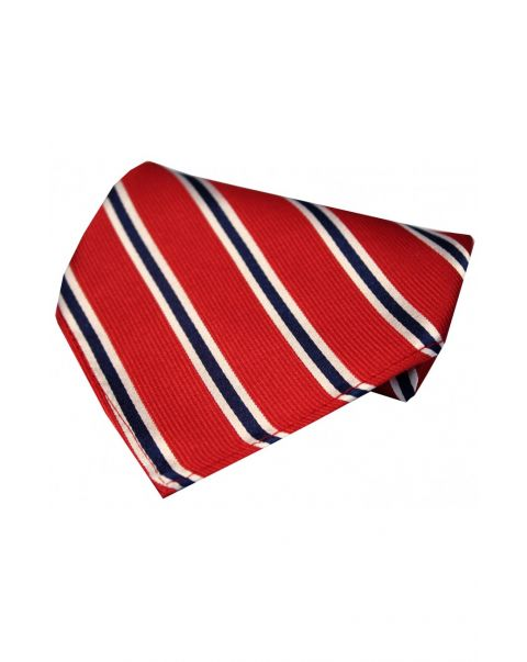 Red & Blue Striped Silk Pocket Square