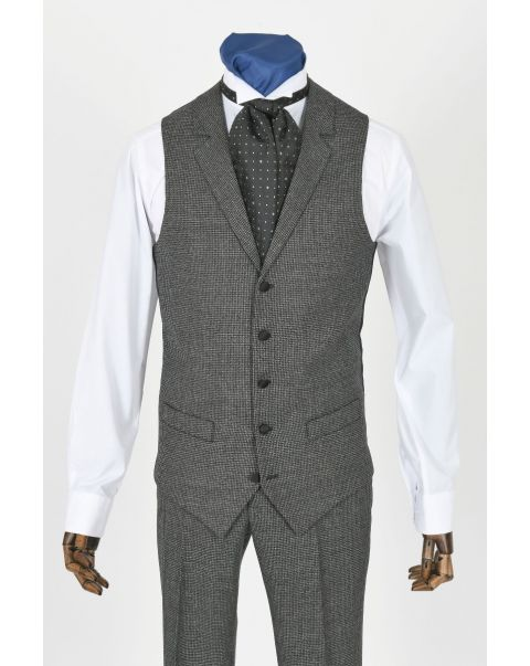 Houndstooth Waistcoat With Notch Lapels - Satin Trim