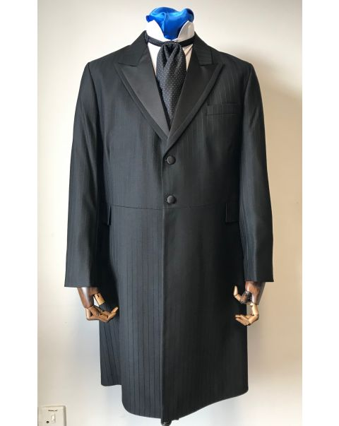 Black Self Stripe Button 2 Frockcoat Two Piece Suit - Chest 40