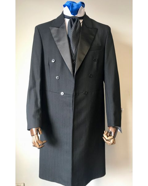 Black Self Stripe Frockcoat Two Piece Suit - Chest 40