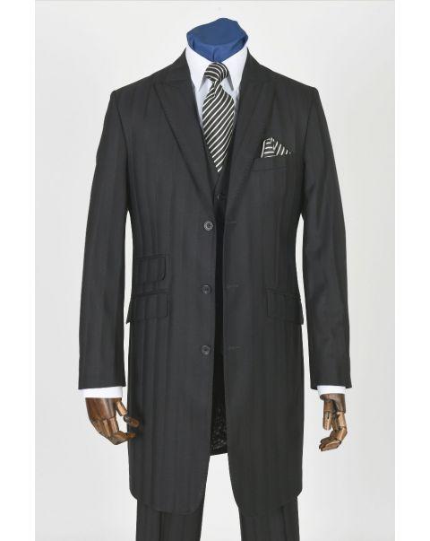 Self Stripe Longline Jacket