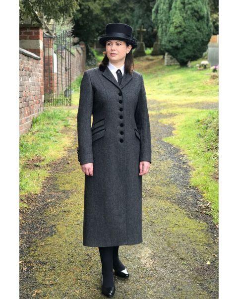 Charcoal Herringbone Chepstow Overcoat - Velvet Trim