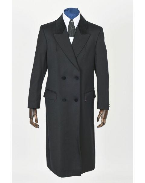 Double Breasted Overcoat - Velvet Trim