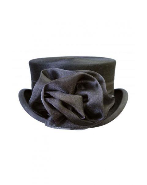 Black Chiffon Hat Rose
