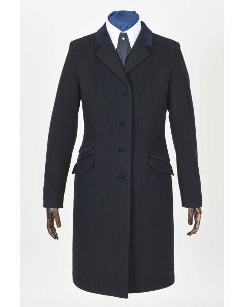 Navy Overcoat - Velvet Trim