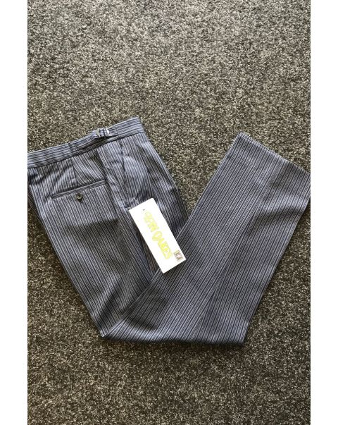 Blue Striped Classic Fit Trousers - W32 x L30