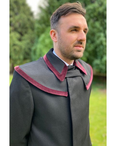 Prussian Collar Whipcord Raincoat - Burgundy Trim
