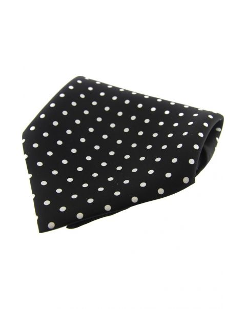Black & White Polka Dot Silk Pocket Square