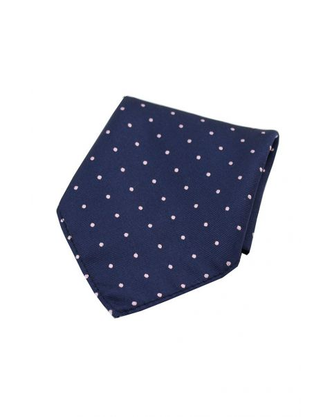 Navy & Pink Pin Dot Silk Pocket Square