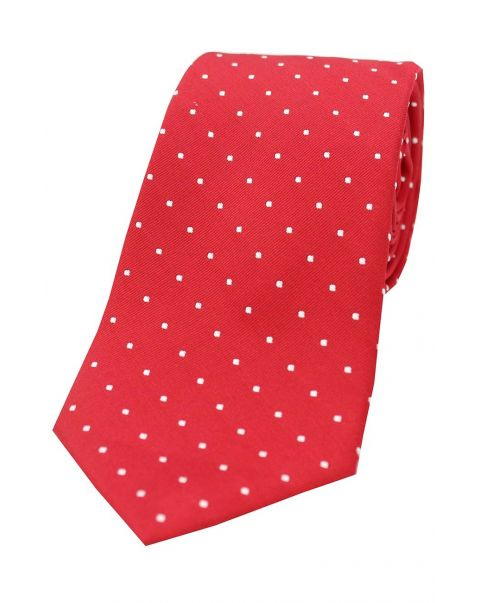 Red & White Pin Dot Silk Tie