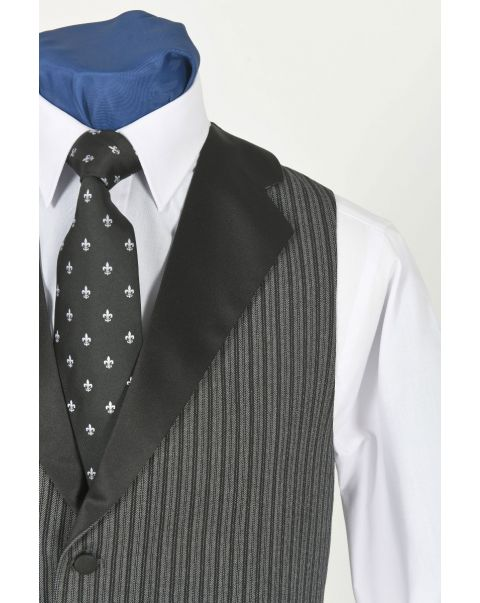 Special Stripe Waistcoat With Notch Lapels- Satin Lapels