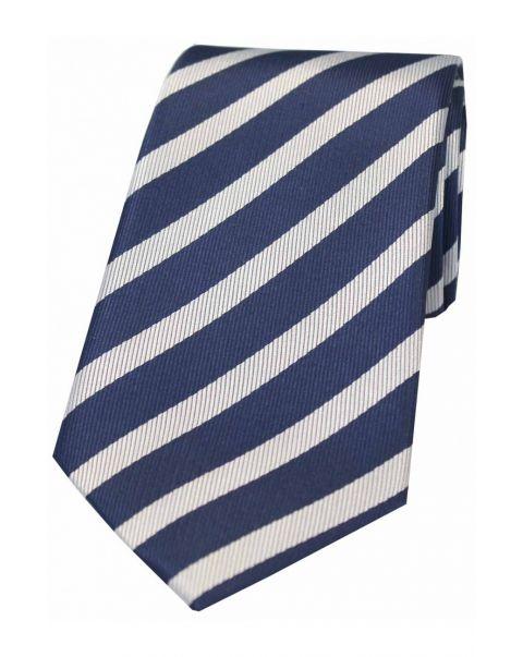 Navy & White Striped Silk Tie